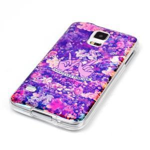 Blu-ray gelový obal s odlesky na Samsung Galaxy S5 - květiny - 2