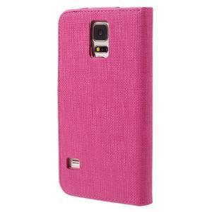 Clothy Pu kožené pouzdro na Samsung Galaxy S5 - rose - 2