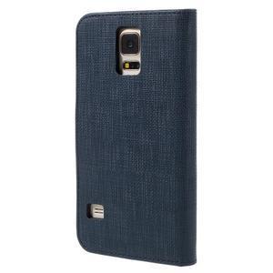Clothy Pu kožené pouzdro na Samsung Galaxy S5 - tmavěmodré - 2