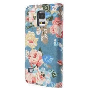 Květinové pouzdro na mobil Samsung Galaxy S5 - modré pozadí - 2