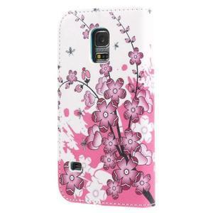 Emotive PU kožené pouzdro na Samsung Galaxy S5 mini - kvetoucí větvička - 2