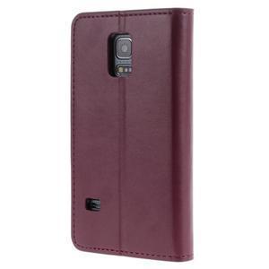 Sonata PU kožené pouzdro na Samsung Galaxy S5 mini - vínové - 2