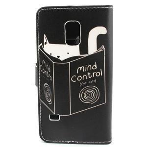Peněženkové pouzdro na mobil Samsung Galaxy S5 mini - kniha a kočička - 2