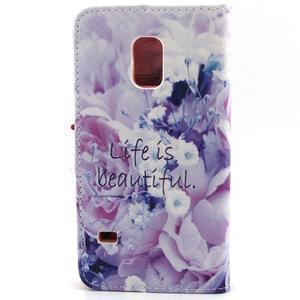 Peněženkové pouzdro na mobil Samsung Galaxy S5 mini -  květiny - 2