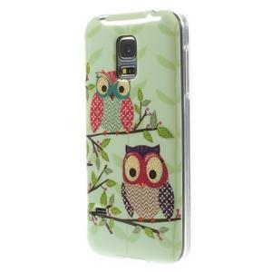 Owls gelový obal na Samsung Galaxy S5 mini - sovy na větvi - 2