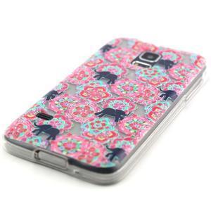 Transparentní gelový obal na mobil Samsung Galaxy S5 mini - květiny a sloni - 2