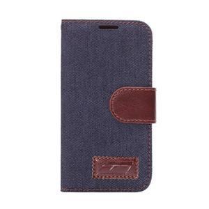 Jeans peněženkové pouzdro na Samsung Galaxy S5 mini - černomodré - 2