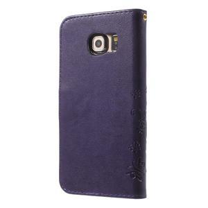 Butterfly PU kožené pouzdro na mobil Samsung Galaxy S6 Edge - fialové - 2