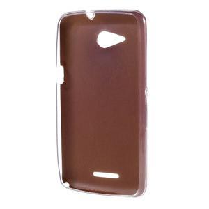 Gelový obal na Sony Xperia E4g s koženkovými zády - zlatý - 2