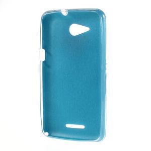 Gelový obal na Sony Xperia E4g s koženkovými zády - modrý - 2