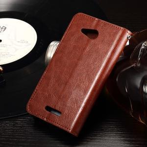 Horse PU kožené pouzdro na mobil Sony Xperia E4g - hnědé - 2