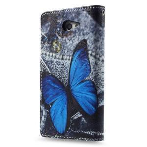 Standy peněženkové pouzdro Sony Xperia M2 Aqua - modrý motýl - 2