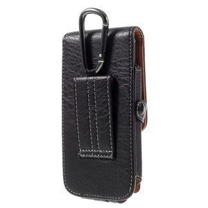 Cestovní PU kožené peněženkové pouzdro do rozměru 150 x 73 x 15 mm - černé - 2