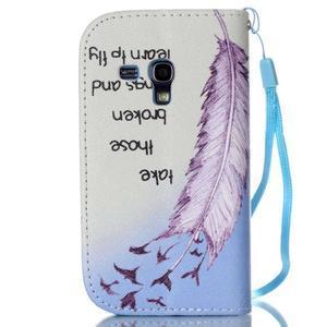Knížkové PU kožené pouzdro na Samsung Galaxy S3 mini - ptáčci - 2