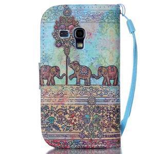 Knížkové PU kožené pouzdro na Samsung Galaxy S3 mini - sloni - 2