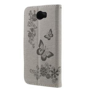 Butterfly PU kožené pouzdro na mobil Huawei Y5 II - šedé - 2