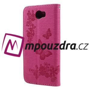 Butterfly PU kožené pouzdro na mobil Huawei Y5 II - rose - 2