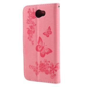 Butterfly PU kožené pouzdro na mobil Huawei Y5 II - růžové - 2