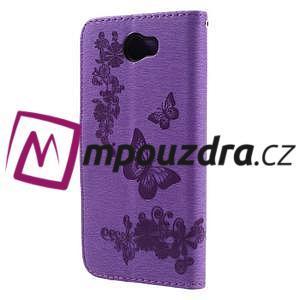 Butterfly PU kožené pouzdro na mobil Huawei Y5 II - fialové - 2