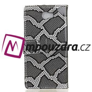 Pouzdro s hadím motivem na mobil Huawei Y5 II - stříbrné - 2
