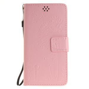 Dandelion PU kožené pouzdro na Huawei Y5 II - růžové - 2