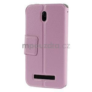 Flipové PU kožené pouzdro na HTC Desire 500 - růžové - 2