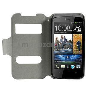 Flipové PU kožené pouzdro na HTC Desire 500 - tmavě fialové - 2