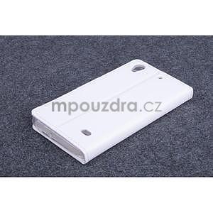 Bílé PU kožené peněženkové pouzdro na Huawei Ascend G620s - 2