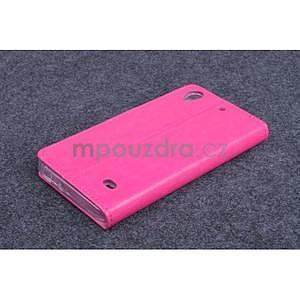 Růžové PU kožené peněženkové pouzdro na Huawei Ascend G620s - 2