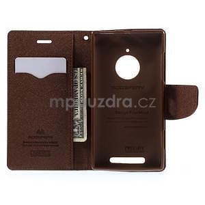 PU kožené peněženkové pouzdro na Nokia Lumia 830 - černé/hnědé - 2