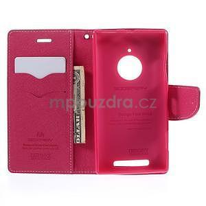 PU kožené peněženkové pouzdro na Nokia Lumia 830 - růžové - 2