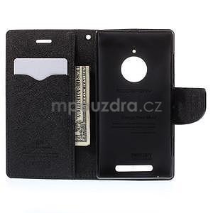 PU kožené peněženkové pouzdro na Nokia Lumia 830 - černé - 2