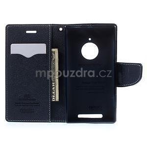 PU kožené peněženkové pouzdro na Nokia Lumia 830 - azurové - 2