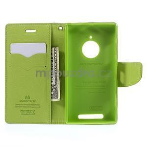 PU kožené peněženkové pouzdro na Nokia Lumia 830 - tmavě modré - 2