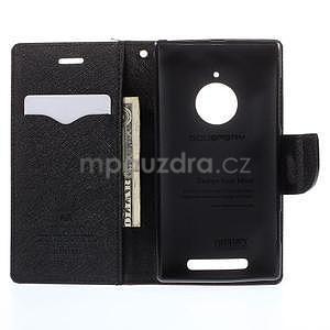 PU kožené peněženkové pouzdro na Nokia Lumia 830 - hnědé/černé - 2