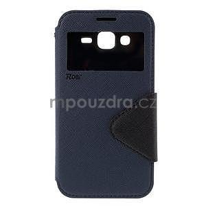PU kožené pouzdro s okýnkem pro Samsung Galaxy J5 - tmavě modré - 2