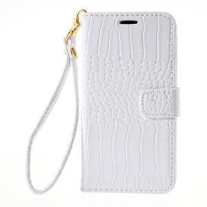 PU kožené pouzdro s imitací krokodýlí kůže Samsung Galaxy J5 - bílé - 2