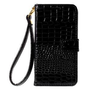 PU kožené pouzdro s imitací krokodýlí kůže Samsung Galaxy J5 - černé - 2