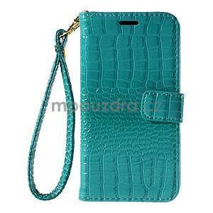 PU kožené pouzdro s imitací krokodýlí kůže Samsung Galaxy J5 - tyrkysové - 2