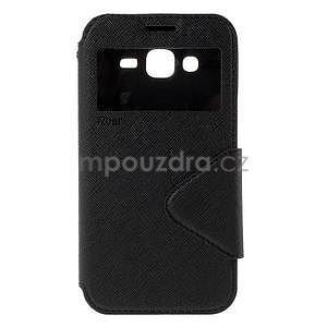 PU kožené pouzdro s okýnkem pro Samsung Galaxy J5 - černé - 2
