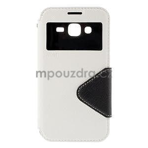 PU kožené pouzdro s okýnkem pro Samsung Galaxy J5 - bílé - 2