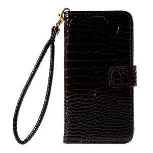 PU kožené pouzdro s imitací krokodýlí kůže Samsung Galaxy J5 - tmavě hnědé - 2