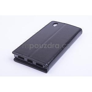 Peněženkové PU kožené pouzdro na Lenovo P70 - černé - 2