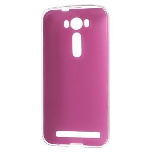 Gelový obal s jemným koženkovým plátem na Asus Zenfone 2 Laser ZE500KL  - růžový - 2