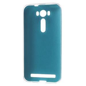 Gelový obal s jemným koženkovým plátem na Asus Zenfone 2 Laser ZE500KL  - modrý - 2