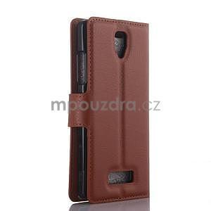 Peněženkové pouzdro na mobil Lenovo A2010 - hnědé - 2