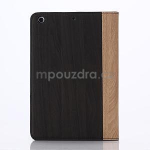 Koženkové pouzdro s imitací dřeva na iPad Mini 3, iPad Mini 2, iPad mini - tmavě šedé - 2