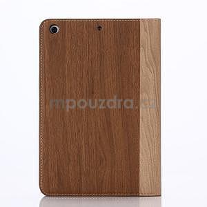 Koženkové pouzdro s imitací dřeva na iPad Mini 3, iPad Mini 2, iPad mini - hnědé - 2
