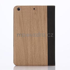Koženkové pouzdro s imitací dřeva na iPad Mini 3, iPad Mini 2, iPad mini - světlehnědé - 2