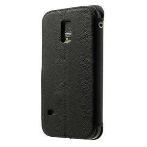 Pěněženkové pouzdro s okýnkem pro Samsung Galaxy S5 mini -  černé - 2
